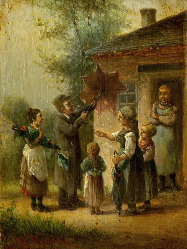 Anton Doll, Der Schirmverkäufer, 1826, Bild gemeinfrei